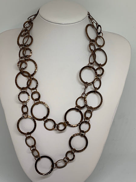 Hammered Hoop Long Necklaces