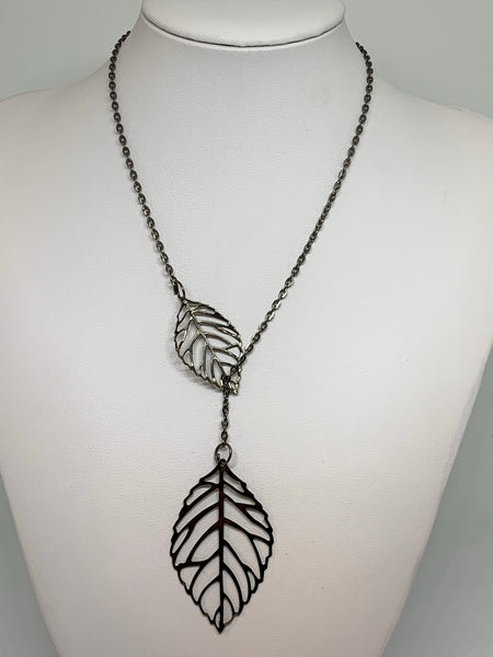 Leaf Loop Necklaces - GUNMETAL