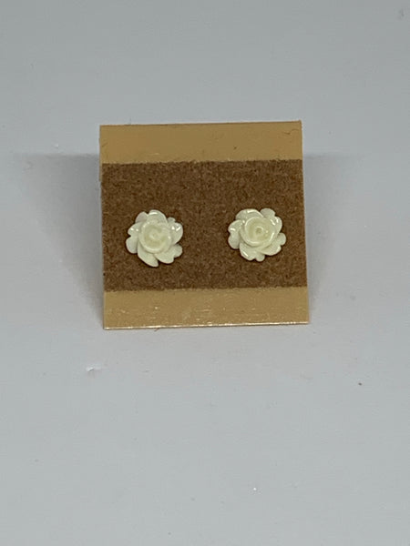 Flower Stud Earrings - White/Cream