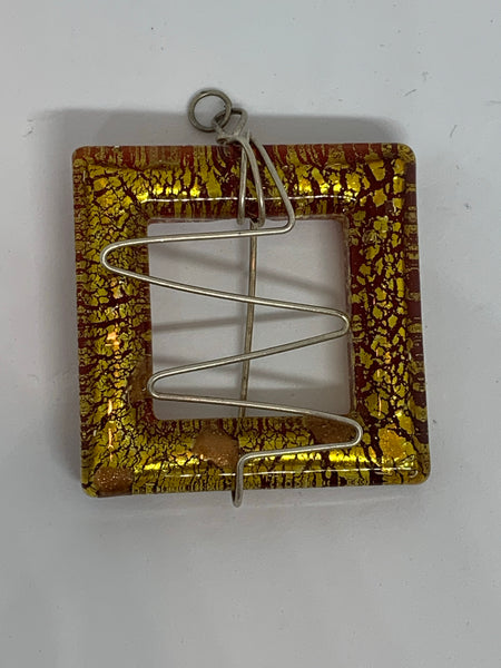 Wire Wrapped Glass Pendants Square