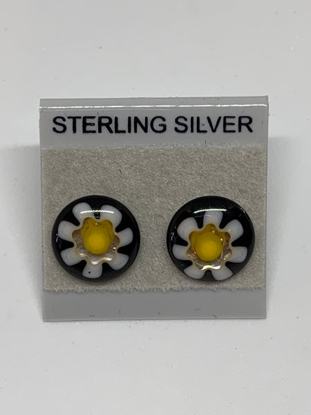 Small Stud earrings - Glass/Sterling Silver