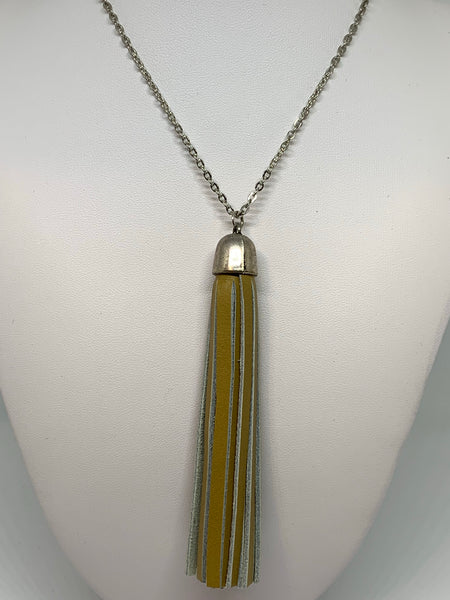 Leather Tassel Necklaces - SILVER CHAIN
