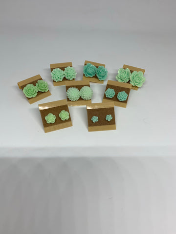 Flower Stud Earrings - Mint Green