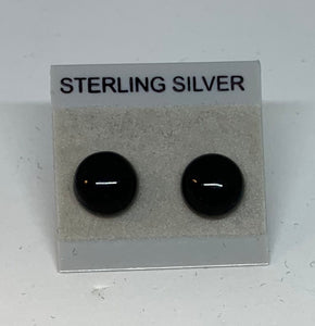 Small Stud earrings - Frosted Glass/Sterling Silver