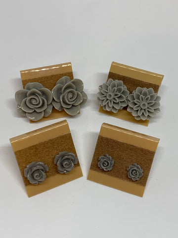 Flower Stud Earrings - Grey