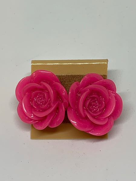 Flower Stud Earrings - Pink