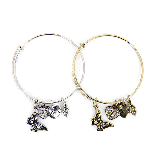 Butterfly Love Charm Bangle