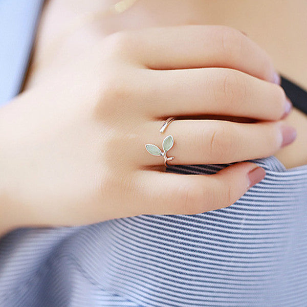 Green Opal Leaf Ring
