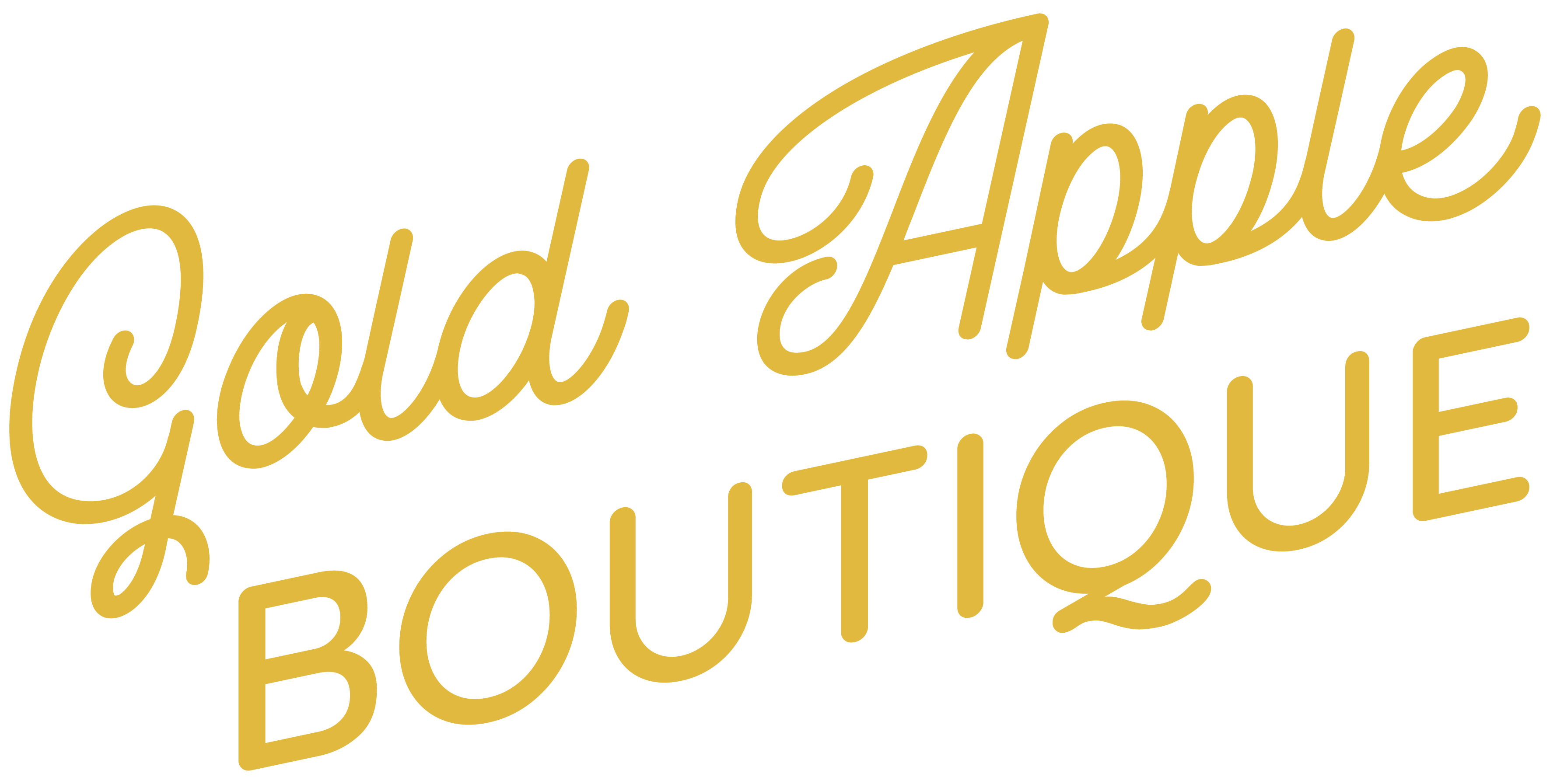 Gold Apple Boutique Script Logo in Gold
