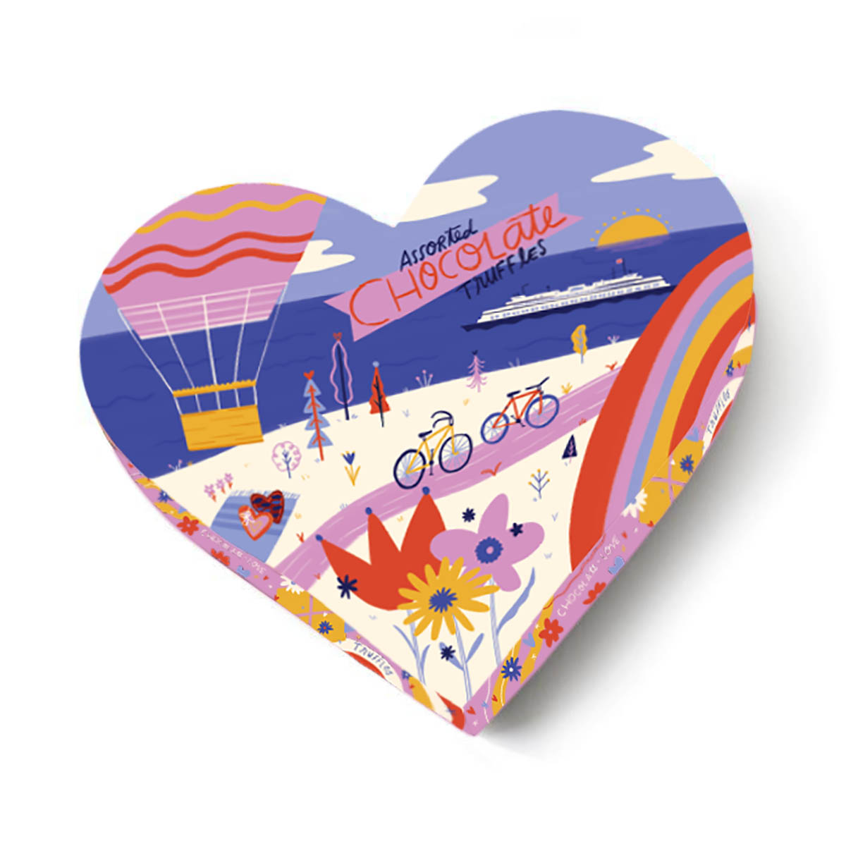 Heart-shaped 6 oz assorted chocolate truffles box with imagery of a bicycle path, body of water, and hot air balloon in vibrant colors