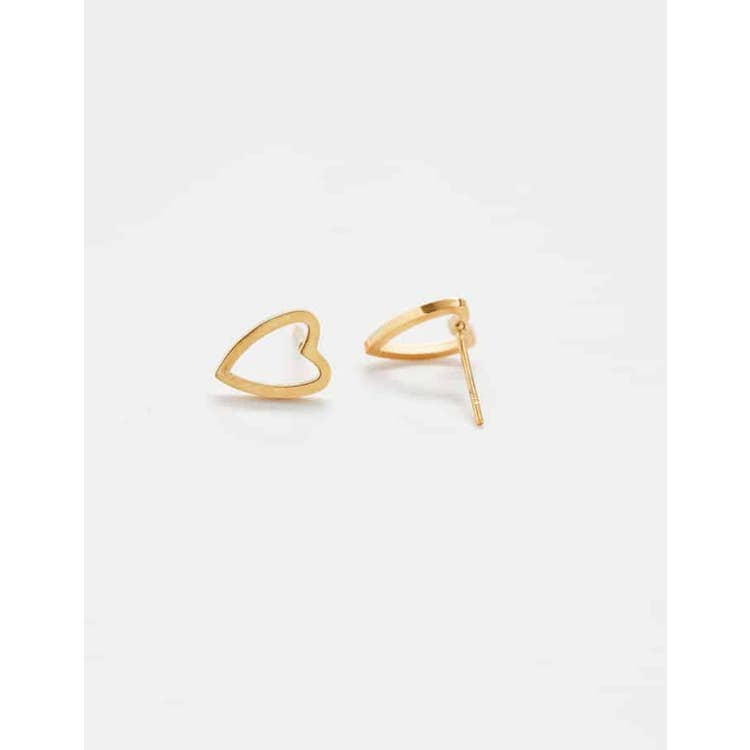 Admiral Row Gold Heart Outline Earrin Studs on white background