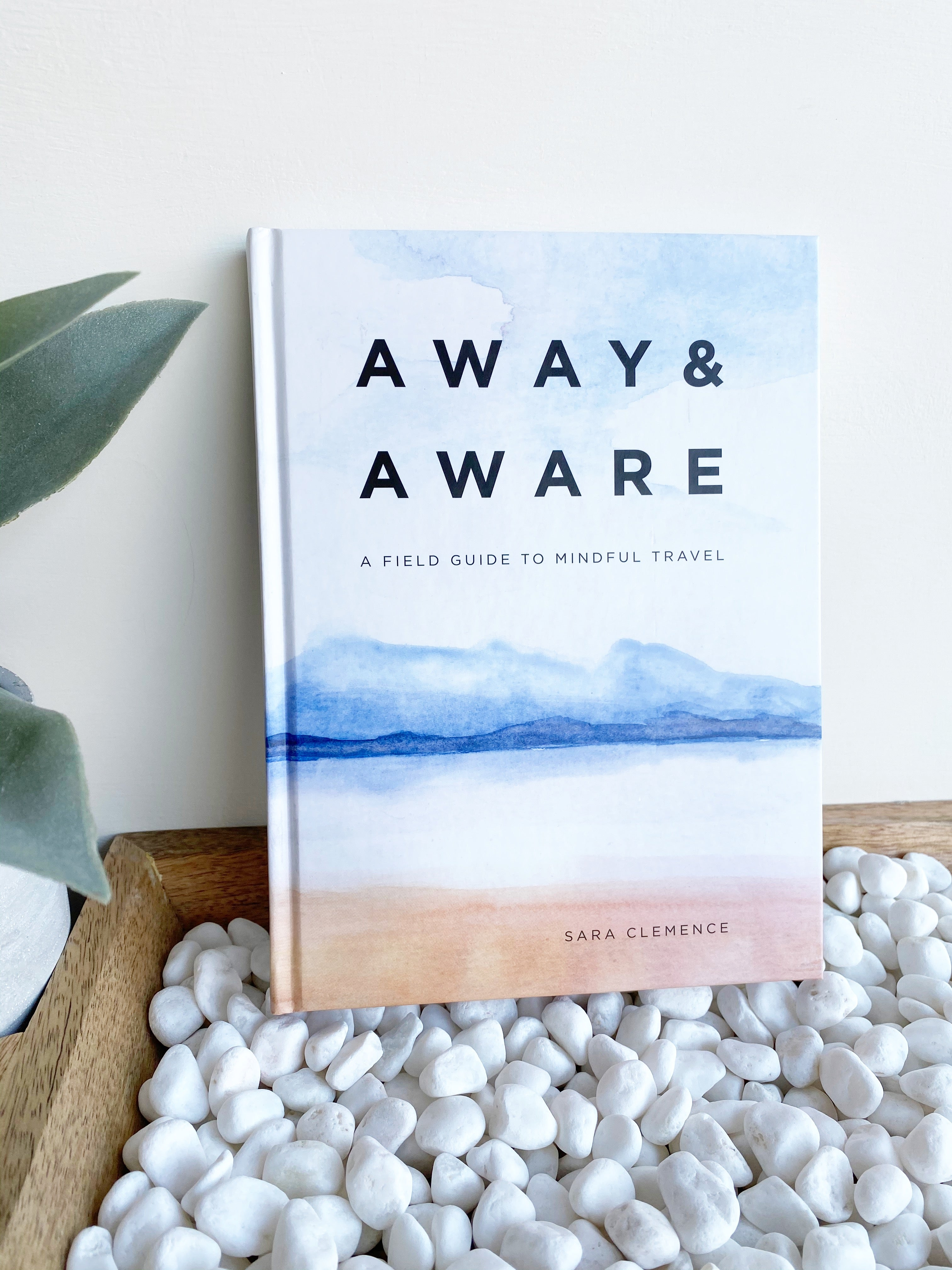 The hardcover book sits upright against a white wall, sitting atop a wooden tray filled with white pebbles. There is a green plant peeking over the left side. The book cover features an abstract scene that resembles blue skies, dark blue water, and sandy beach. In bold black text, the title Away & Aware is printed with description and author text below.