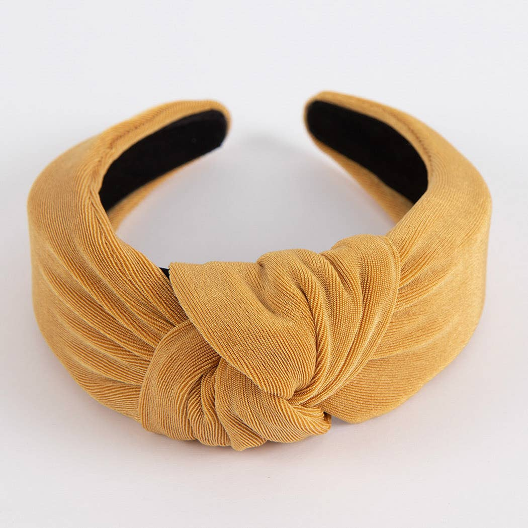 knotted headband in mustard