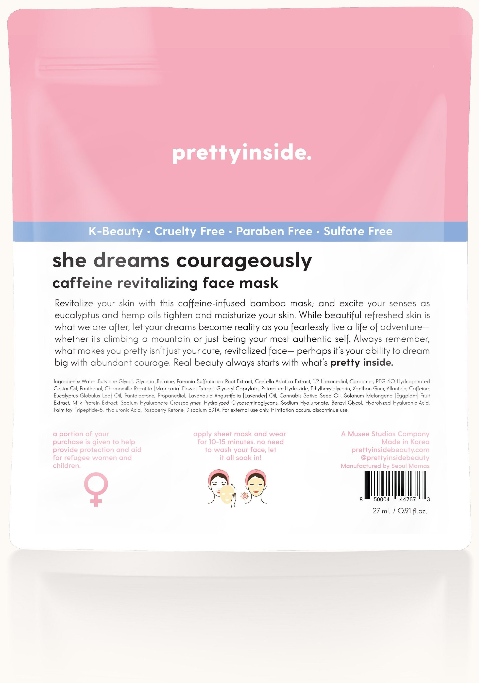 Sheet Face Mask Dreams Courageously Backside