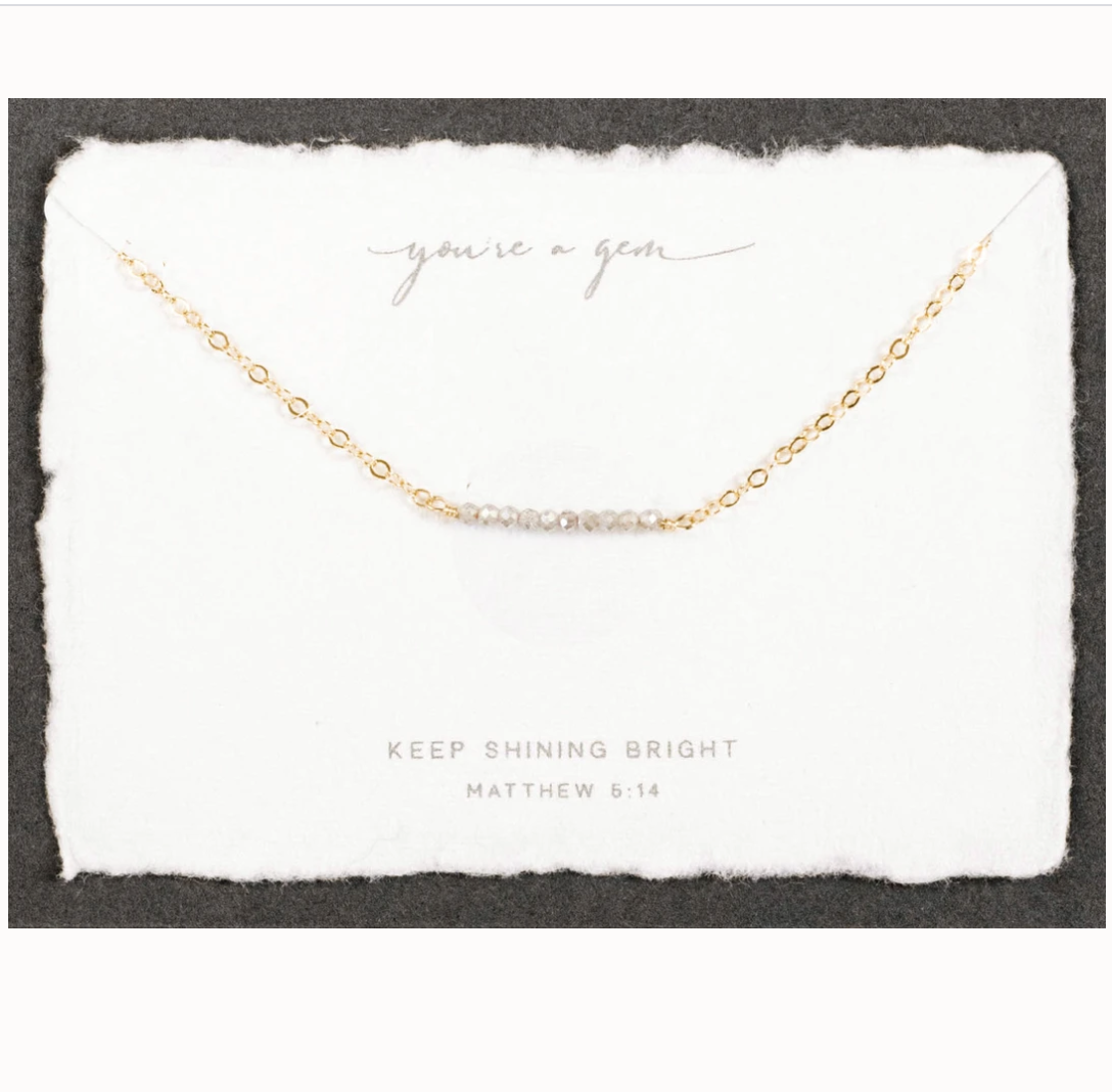 You're a gem labrodorite charm necklace on gold chain pictured on product card with name and scripture reference