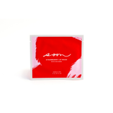 Rectangular red and pink brush stroke designed packaging with white soon logo