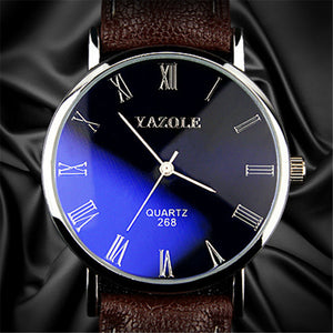 Fashion Casual Business Leather Strap Classic Blue Glass Men Watch