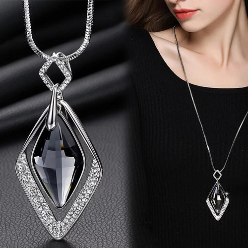 Statement Collar Maxi Fashion Crystal Jewelry Long Necklaces for Women