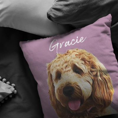 Custom Oil Pet Photo Pillow - Stray Faces