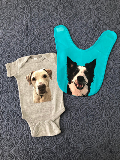 Custom Pet Portrait Baby Bib - Stray Faces