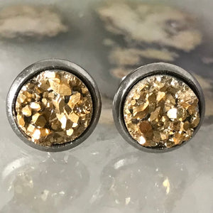 RSH-05 8mm Metallic Druzy Earrings Choose from the drop down list (Stainless Steel)
