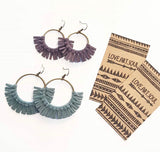 LAS-1 Coloured Suede Round Tassel Earrings
