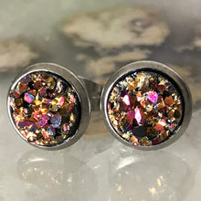 Load image into Gallery viewer, RSH-05 8mm Metallic Druzy Earrings Choose from the drop down list (Stainless Steel)