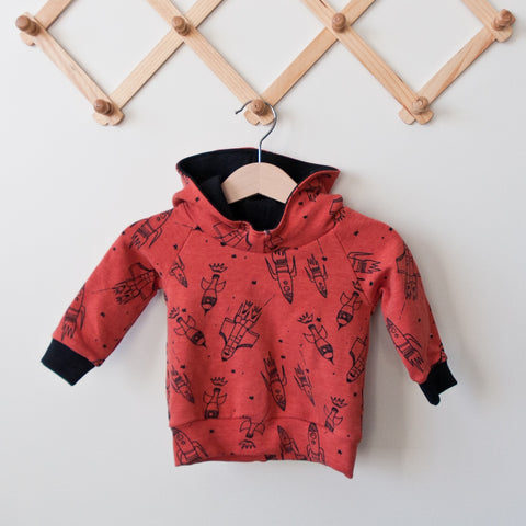 TPP-02 Red Spaceships Scuba Hoodie Sweatshirts