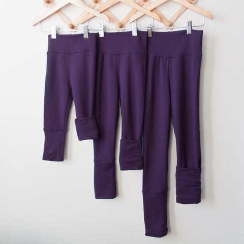TPP-03 Purple SOLID Grow Along Pants 3m-12m