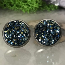 Load image into Gallery viewer, RSH-02 12mm Druzy Earrings Metallics Choose from the drop down list (Stainless Steel)