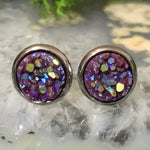 RSH-05 8mm Pink Druzy Earrings Choose from the drop down list (Stainless Steel)