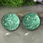RSH-02 12mm Druzy Earrings Greens Choose from the drop down list (Stainless Steel)
