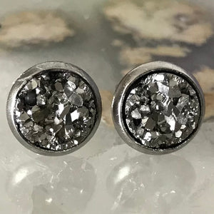 RSH-05 8mm Metallic Druzy Earrings (Stainless Steel)