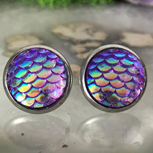 Load image into Gallery viewer, RSH-02M 12mm Mermaid Scale Earrings Choose from the drop down list (Stainless Steel)