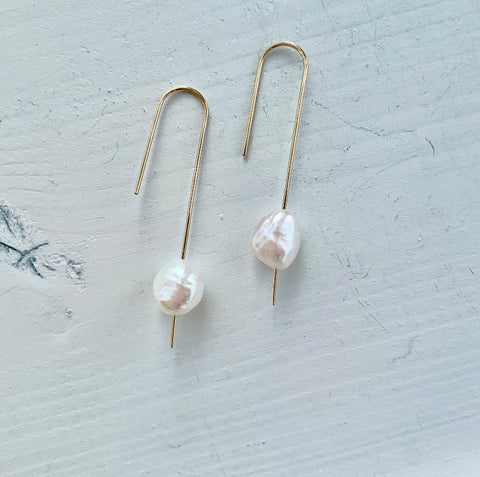 HHS-110 Pearl Drop Earrings -14K Rose Gold Fill