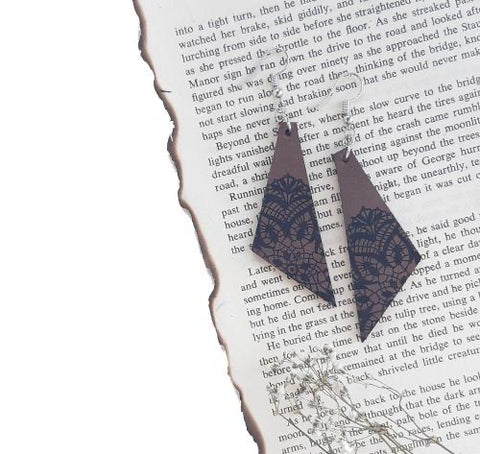 LAS-1 Leather Burned Lace Design Earrings