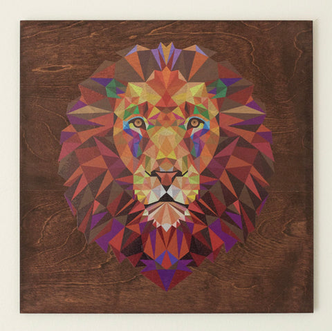 "RPC- 22""x 22"" Stained Geometric Lion -Mahogany"