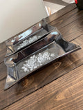 ROX-11 Large Rectangle Sushi Dish- Pewter with Roses