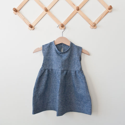 TPP-12 Denim Blue Linen Dress Variety Of Sizes
