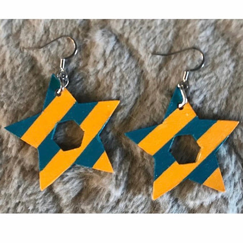 NRA-10 Wooden Painted Dangle Earrings