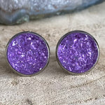 RSH-02 12mm Druzy Earrings Purples Choose from the drop down list (Stainless Steel)