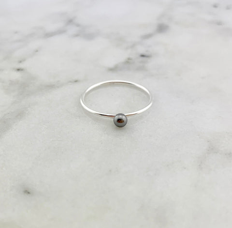 HHS-80 Sterling Silver Pearl Drop Ring-Grey Pearl-Size 5