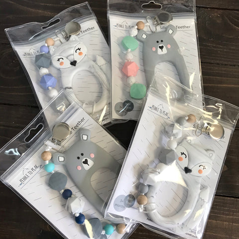 P2P-4 Fox & Bear & Bunny Teether With Clip