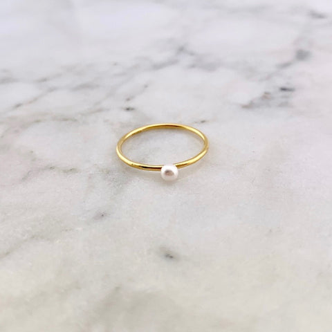 HHS-84 Gold Pearl Drop Ring-White Pearl-Size 5