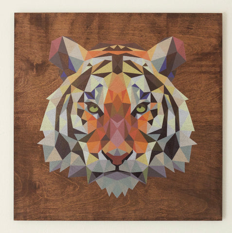 "RPC- 22""x 22"" Stained Geometric Tiger -Mahogany"