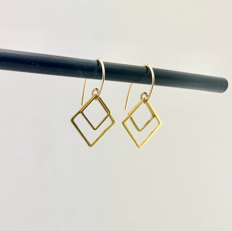 HHS-127 Double Square Dangle Earrings - 14K Gold Filled