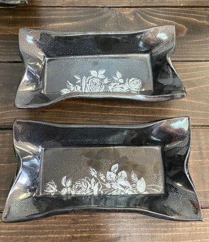ROX-09 Rectangle Sushi Dish- Pewter with Roses