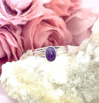 HHS-67 Double Band Amethyst Ring - Size 6