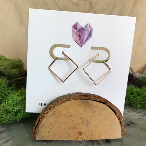 HHS-36 Small Square Threader Earrings- Rose Gold