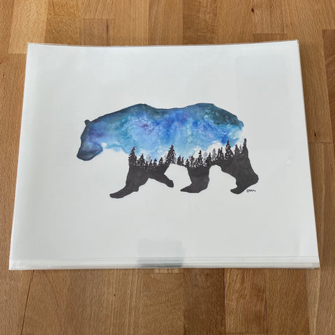 DAJ DJJR Bear Silhouette WATERCOLOUR PRINT